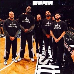 Members of the Brooklyn Nets show support for Eric Garner.