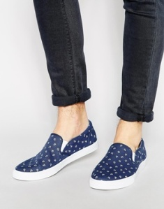Slip-on Anchor Sneaker with Anchor Print