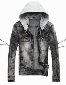 Industrial Denim Jacket with detachable hood