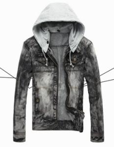 Industrial Denim Jacket with detachable hood